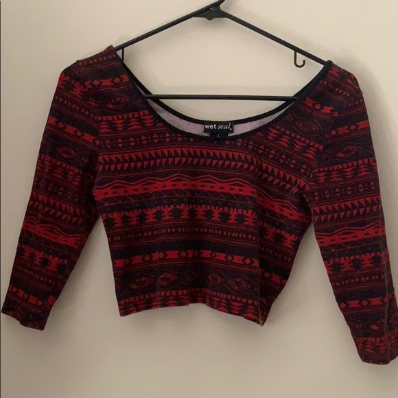 Wet Seal Tops - Red and black patterned crop top.